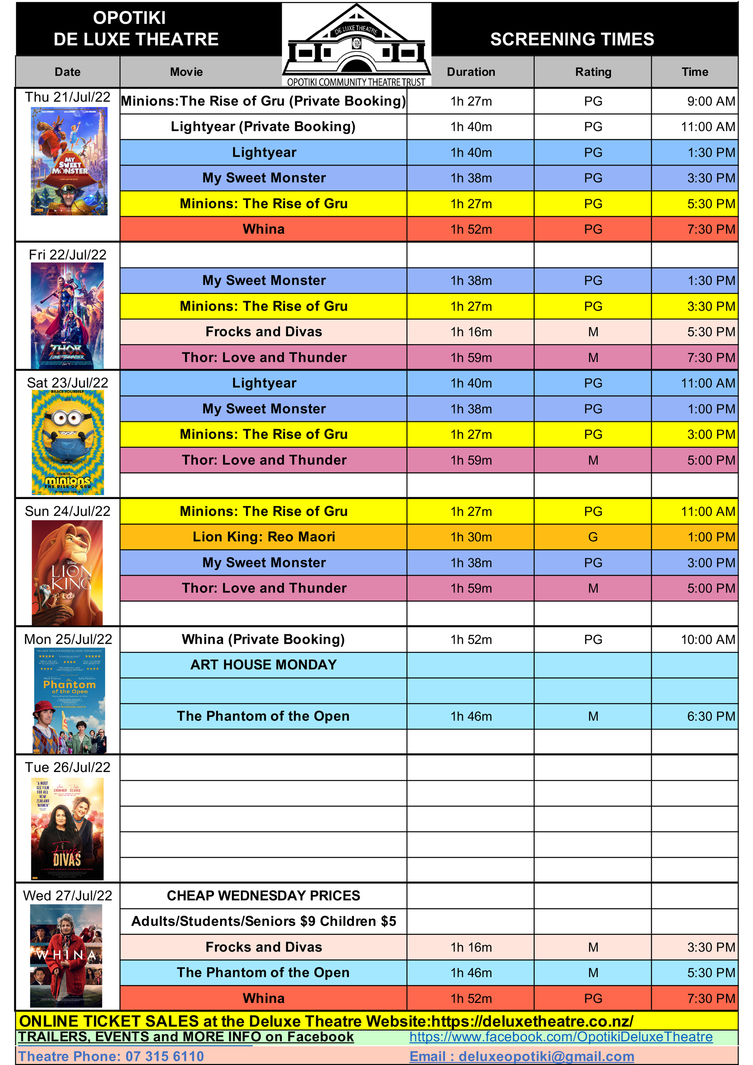 Opotiki Deluxe Theatre Movie Schedule
